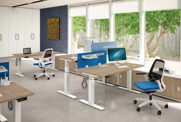 Scrivania operativa Quadrifoglio gamba T piatta Adv arredamentI ufficio Torino