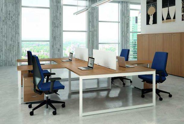 Scrivania operativa Quadrifoglio gamba ad anello Adv arredamentI ufficio Torino